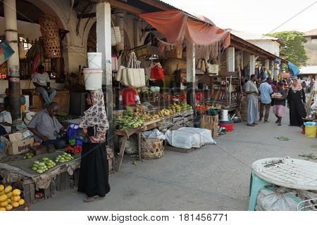 The street market of Stone Town in Zanzibar, 27. September 2012
