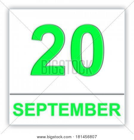 September 20. Day on the calendar. 3D illustration