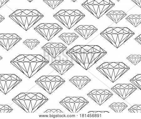 Black silhouettes faceted vector gems on white background Seamless jewelry pattern.