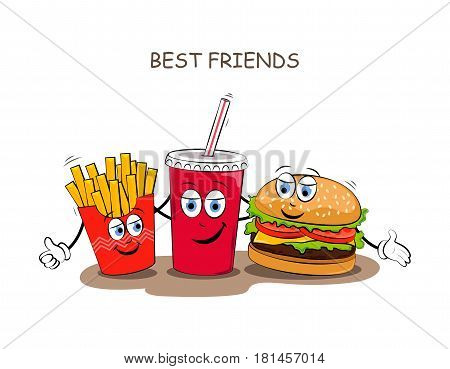 Fast food. Vector illustration of fast food. Cute best friends picture with the image of fast food. Children's picture.