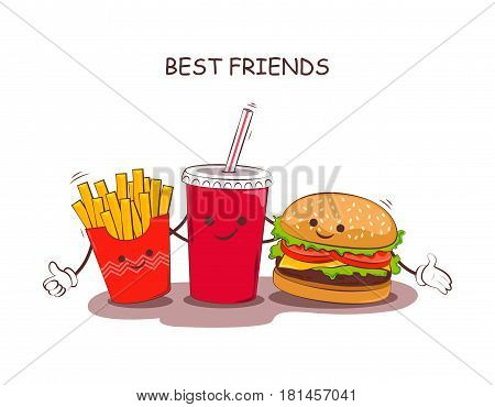 Fast food. Vector illustration of fast food. Cute best friends picture with the image of fast food. Image fast food in vintage style. Children's picture.