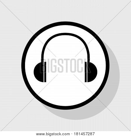 Headphones sign illustration. Vector. Flat black icon in white circle with shadow at gray background.