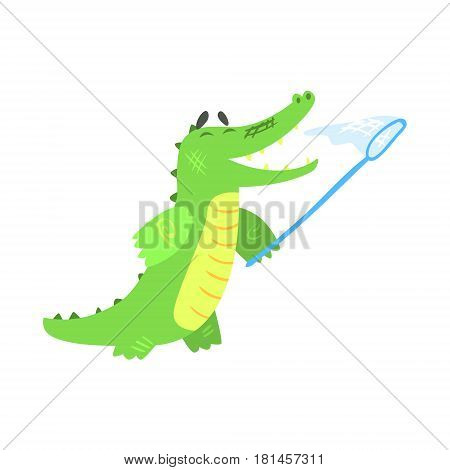 Crocodile Catching Butterflies With Net, Humanized Green Reptile Animal Character Every Day Activity, Part Of Flat Bright Color Isolated Funny Alligator In Different Situation Series Of Illustrations