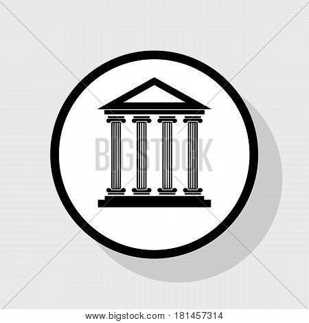 Historical building illustration. Vector. Flat black icon in white circle with shadow at gray background.