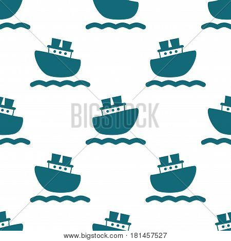 Cute seamless pattern with blue boats and waves. Vector illustration for birthday anniversary party invitations scrapbooking prints fabric cards. Marine theme