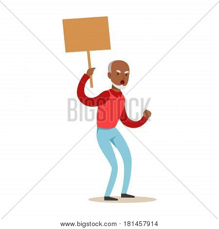 Old Black Man Marching In Protest With Banner, Screaming Angry, Protesting And Demanding Political Freedoms. Citizens On Demonstration Against Establishment Demonstrating Disagreement With Situation.