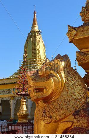 The golden lion in Shwezigon Pagoda (Paya) in Bagan, Myanmar (Burma)