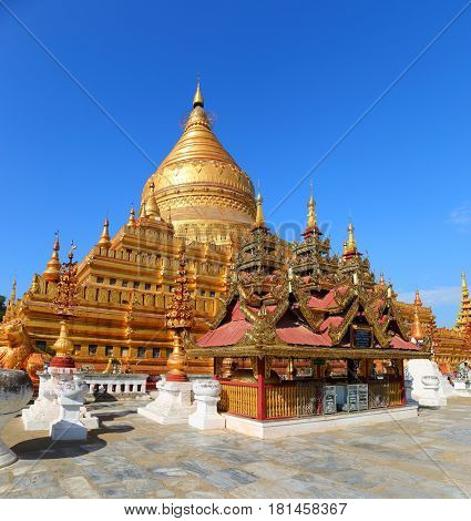 The golden Shwezigon Pagoda (copy of Shwedagon Pagoda) in Bagan, Myanmar (Burma)