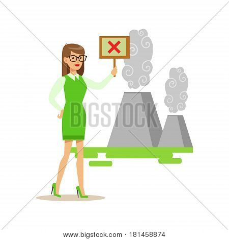 Woman With Sign Protesting Air Pollution , Contributing Into Environment Preservation By Using Eco-Friendly Ways Illustration. Part Of People And Ecology Series Of Vector Cartoon Drawings.