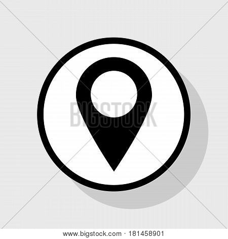 Mark pointer sign. Vector. Flat black icon in white circle with shadow at gray background.