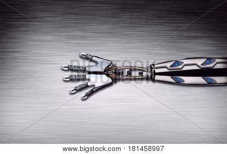 Robot arm disassembled on metal table, 3D rendering