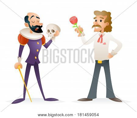 Actor Theater Stage Man Characters Medieval Modern Icons Cartoon Design Template Vector Illustration