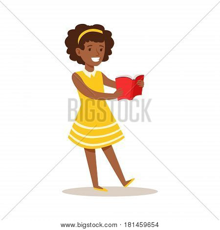 Girl In Yellow Dress Who Loves To Read, Illustration With Kid Enjoying Reading An Open Book. Teenager Bookworm Cartoon Vector Character Smiling And Enjoying His Pastime And Hobby.