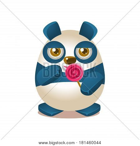 Cute Panda Activity Illustration With Humanized Cartoon Bear Character Eating A Lollypop. Funny Animal In Fantastic Situation Vector Emoji Drawing.