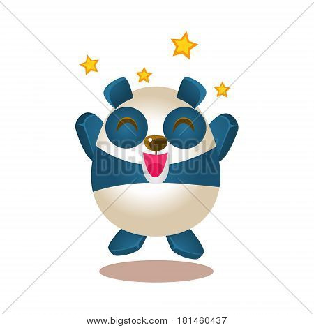 Cute Panda Activity Illustration With Humanized Cartoon Bear Character Jumping Excited And Ecstatic. Funny Animal In Fantastic Situation Vector Emoji Drawing.