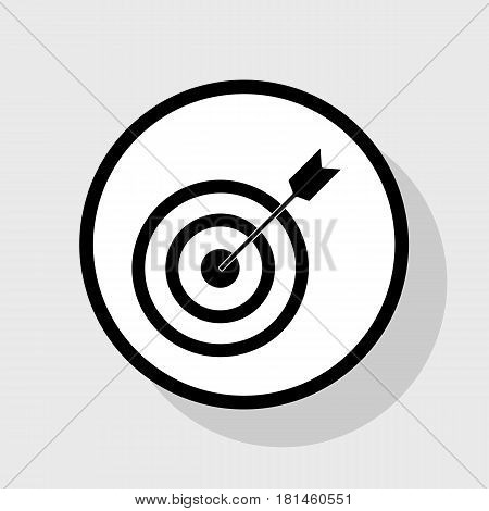 Target with dart. Vector. Flat black icon in white circle with shadow at gray background.