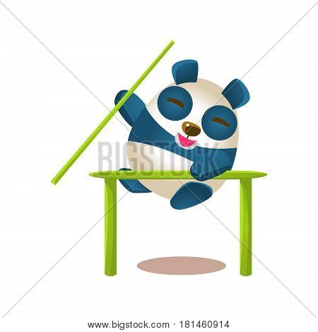 Cute Panda Activity Illustration With Humanized Cartoon Bear Character Jumping A Barrier With A Pole. Funny Animal In Fantastic Situation Vector Emoji Drawing.