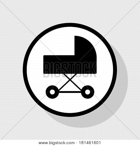 Pram sign illustration. Vector. Flat black icon in white circle with shadow at gray background.