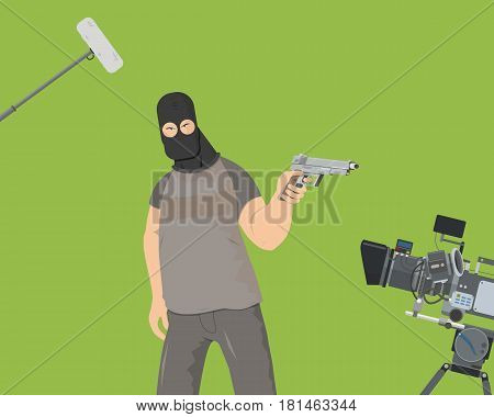 The actor plays the role of an armed villain in the film. Special camera shooting on a green background Vector illustration