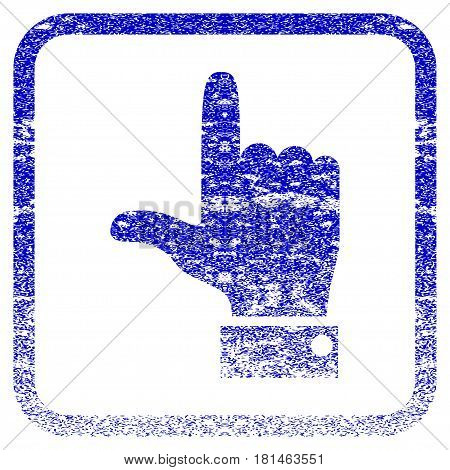 Hand Pointer Up textured icon for overlay watermark stamps. Blue vectorized texture. Flat vector symbol with unclean design inside rounded square frame. Framed blue rubber seal stamp imitation.