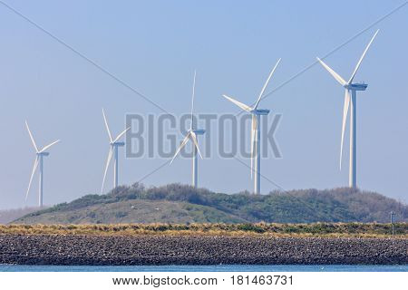 Rotterdam the Netherlands - April 9 2017: wind turbines in Rotterdam harbor