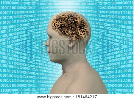 Cyborg with mechanical brain exposed, 3D rendering