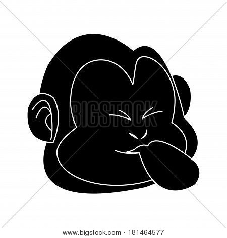 tongue out monkey cartoon icon image vector illustration design  black and white