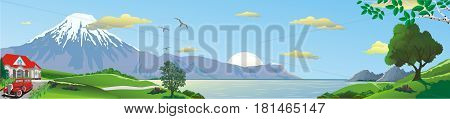 Panoramic landscape - morning over the Bay. The view from the hill. Mountains over the sea. The tree on the hill. A country cottage. Retro car. Vector illustration