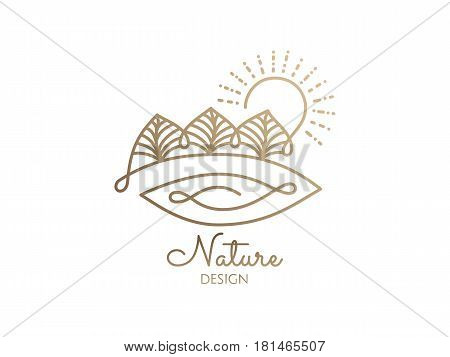 Vector logo of nature elements on white background. Linear icon of landscape with trees, sun, river - business emblems, badge for a travel, farming and ecology concepts, health and yoga Center.