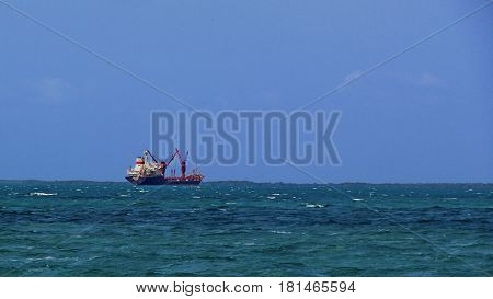 Ship goes sailing to the open waters