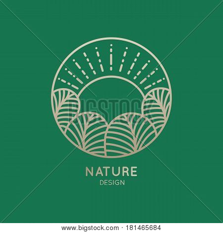Vector logo of nature elements on green background. Linear icon of landscape with trees and sun in circle - business emblems, badge for a travel, farming and ecology concepts, health and yoga Center.