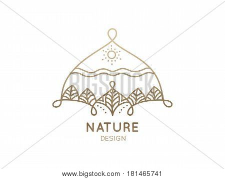 Vector logo of nature elements on white background. Linear icon of landscape with trees and sun - business emblems, badge for a travel, spa and ecology concepts, health and yoga Center.