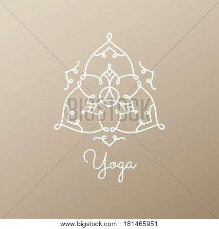 Vector logo of floral element. Abstract flower mandala. Linear emblem for design of natural products, flower shop, cosmetics and ecology concepts, cosmetic, health, spa and yoga Center.