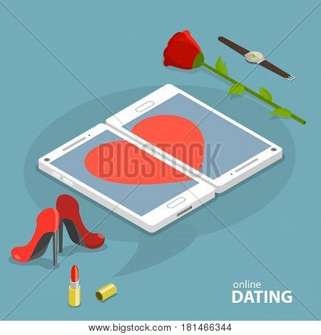 Online dating service vector concept. Two smartphones are showing a heart simbol on their screens. Nearby are some men and women accessories.