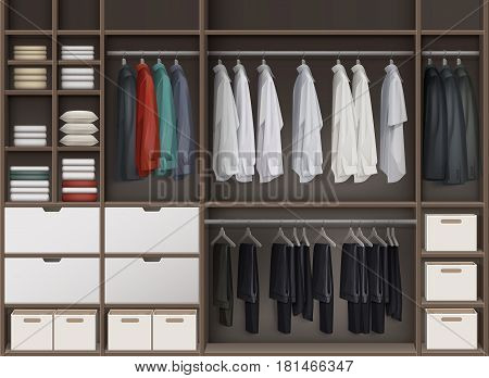 Vector brown cloakroom closet with shelves full of boxes and clothes shirts, trousers pants, jackets front view