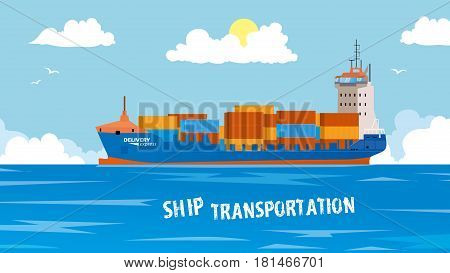 Cool detailed vector design element on seagoing freight transport with loaded container ship. Modern global cargo shipping background. Ideal for web site or social media network cover profile image.