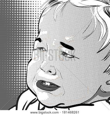 Vector Illustration of Cartoon Baby crying. Cruying baby boy