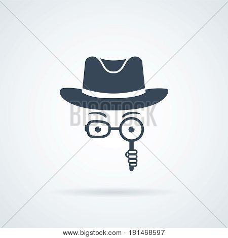 Unknown man in hat, spectacles and a magnifying glass in hand. Inspector. Detective icon
