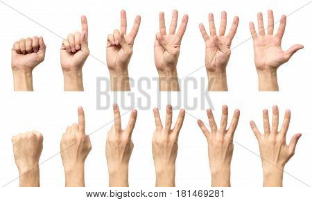 Male Hands Counting From Zero To Five Isolated