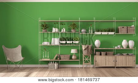 Eco green interior design with wooden bookshelf diy vertical garden storage shelving living lounge relax area with armchair, 3d illustration