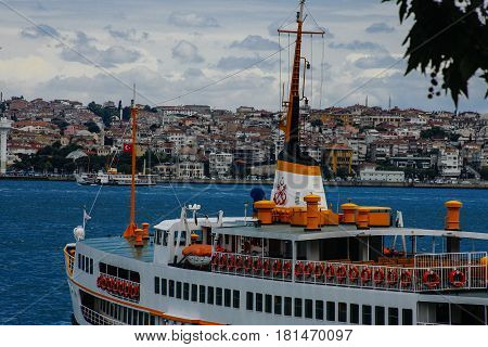 Tourist ship and water Golden Horn in Istanbul, Turkey