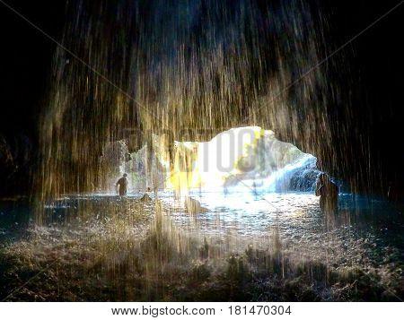 Dentro de uma caverna nas Grutas de Tolantongo no Mexico