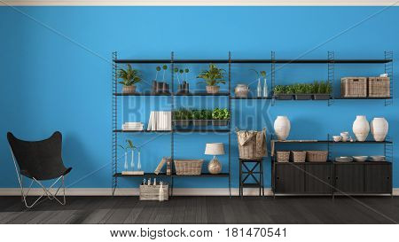 Eco blue interior design with wooden bookshelf diy vertical garden storage shelving living lounge relax area with armchair, 3d illustration