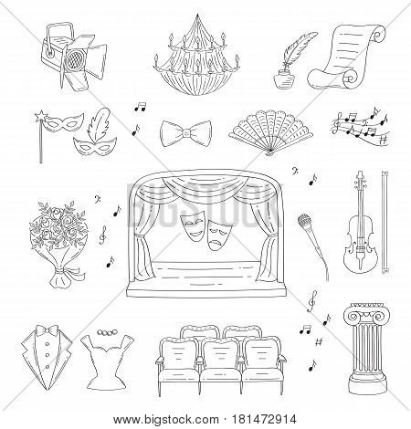 Vector set of theater icons with theatrical stage, comedy and tragedy masks, curtains , seats, violin , spotlight, tuxedo, evening dress, isolated on white background, hand drawn, doodle