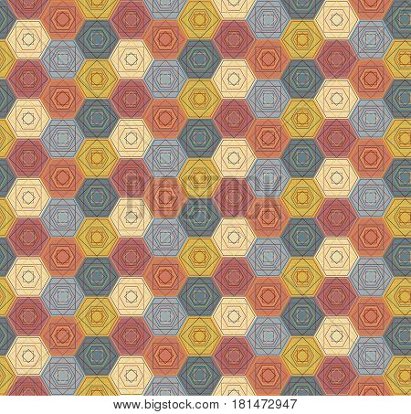 Pattern With Outlined Hexagons And Squares