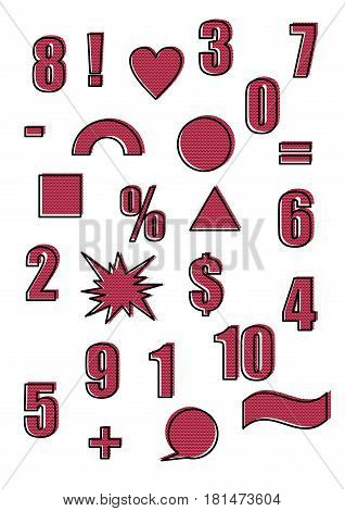 Retro shapes and figures in the vintage pop art style of the 90s. Outline and polka dot red color background. Set of vector illustration. Abstract forms and design elements. Comic cartoon expression