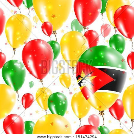 Mozambique Independence Day Seamless Pattern. Flying Rubber Balloons In Colors Of The Mozambican Fla