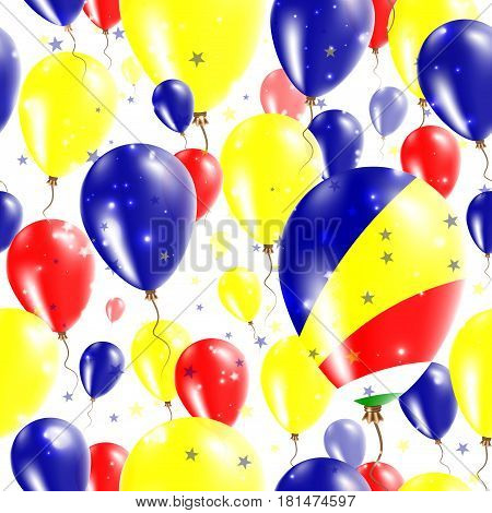 Seychelles Independence Day Seamless Pattern. Flying Rubber Balloons In Colors Of The Seychellois Fl