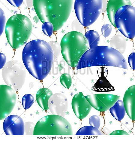 Lesotho Independence Day Seamless Pattern. Flying Rubber Balloons In Colors Of The Mosotho Flag. Hap