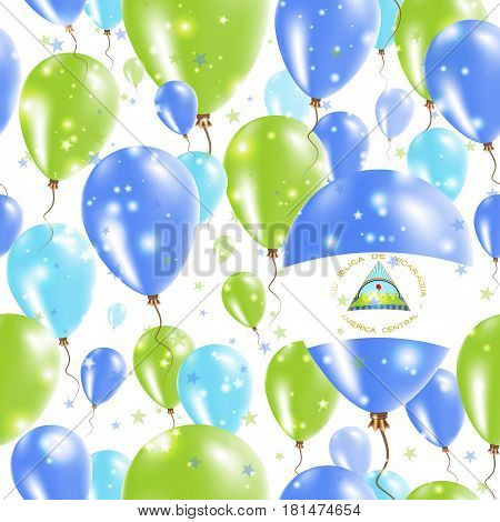 Nicaragua Independence Day Seamless Pattern. Flying Rubber Balloons In Colors Of The Nicaraguan Flag